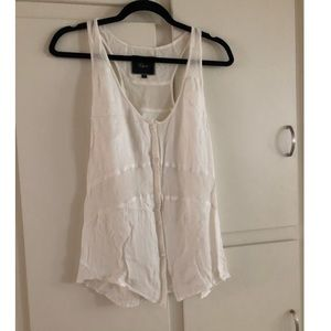 White Rails Button Down Tank